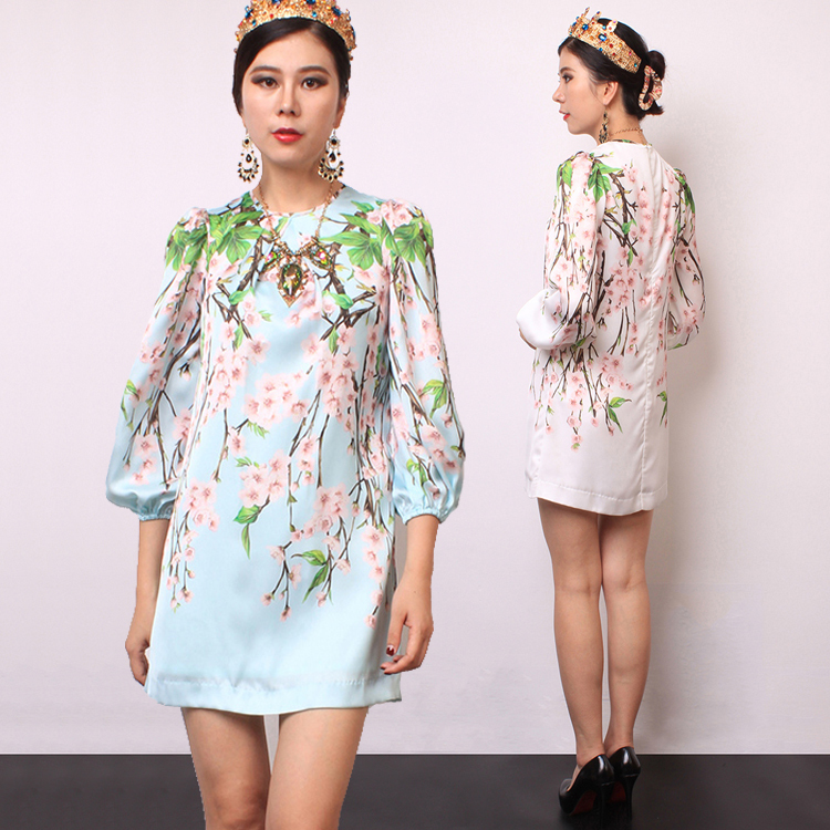 Casual Dress 2017 Summer Fashion Daily Women's New 3/4 Lantern Sleeve Plum Flowers Printed Light Blue / White Straight Dress(China (Mainland))