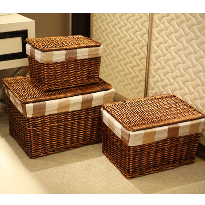 Classic Handwoven Household Wicker Storage Basket With Lid With Cloth Liners Large Laundry