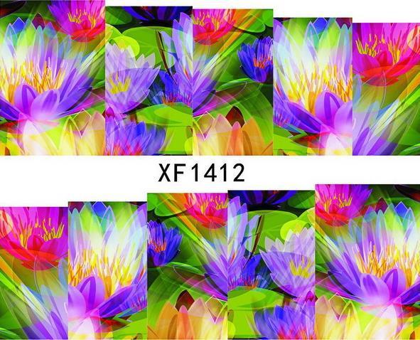 (Two or more cheap 10% again) 30 sheets/lot XF1412 Japanese Watermark Nail Art Fashion 3D DIY Nail Sticker,Necessary Nail Tools(China (Mainland))