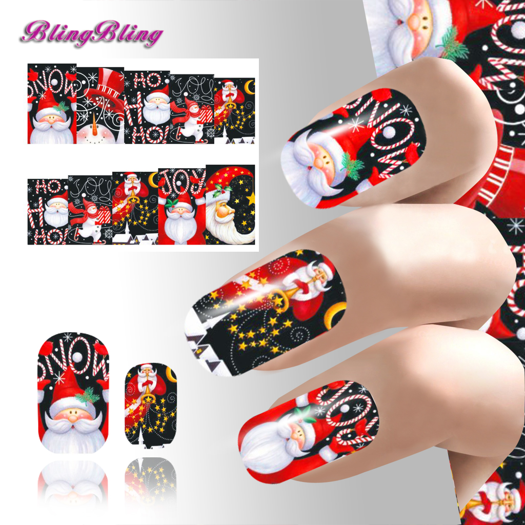 Xmas Nail Sticker Beauty Nail Art New Year Water Decals Pretty Girl Nail Wraps Decoration Party Design Style Christmas Series 24(China (Mainland))