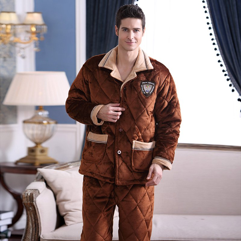 Fashion Men's Sleepwear Suits Men Winter Pajamas Sets Coral Flannel Plus Velvet Thick Warm Sleep Wear Male Home Lounge