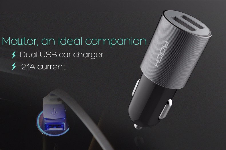 ROCK Car Charger Dual USB output 2.1A fast charging Mobile Phone Travel Adapter Cigar Lighter DC 12-24V Car Phone Charger Slot