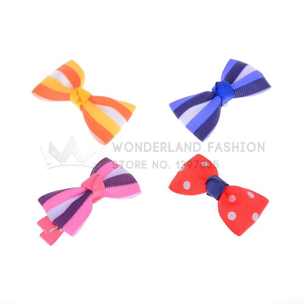 New Fashion Hot Sale Multi-Color Stripled Pattern Polyester Butterfly Metal Clip Hair Clip Pin for Women Girls Children Kids(China (Mainland))