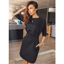 2016 Women Summer Fashion Casual Mini Dress Solid Color Short Sleeve O-neck Women Dress Two Side Pocket Black Dresses Plus Size(China (Mainland))