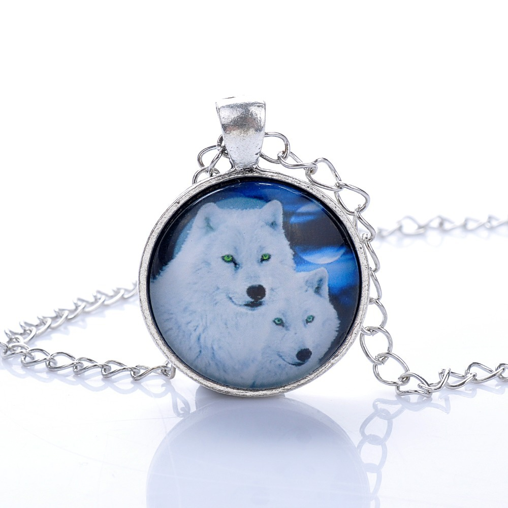 Lureme Fashion Simple Style The White Wolf Mother And Son Time Gem Silver Tone Chain Pendant Necklace for Women 2015 Best Gift(China (Mainland))