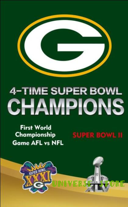 Free shipping 3x5FT Green Bay Packers Super Bowl flag, NFL Vince Lombardi Trophy Championship banner digital printing 100D(China (Mainland))