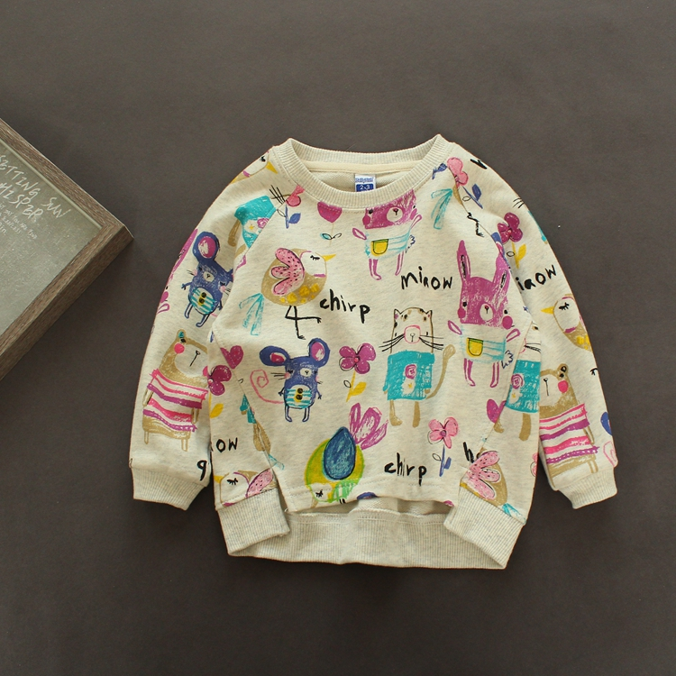 New Autumn Kids Girls T shirt Cotton Long Sleeve T-shirt For Girl Graffiti Cartoon Print Children Clothes(China (Mainland))