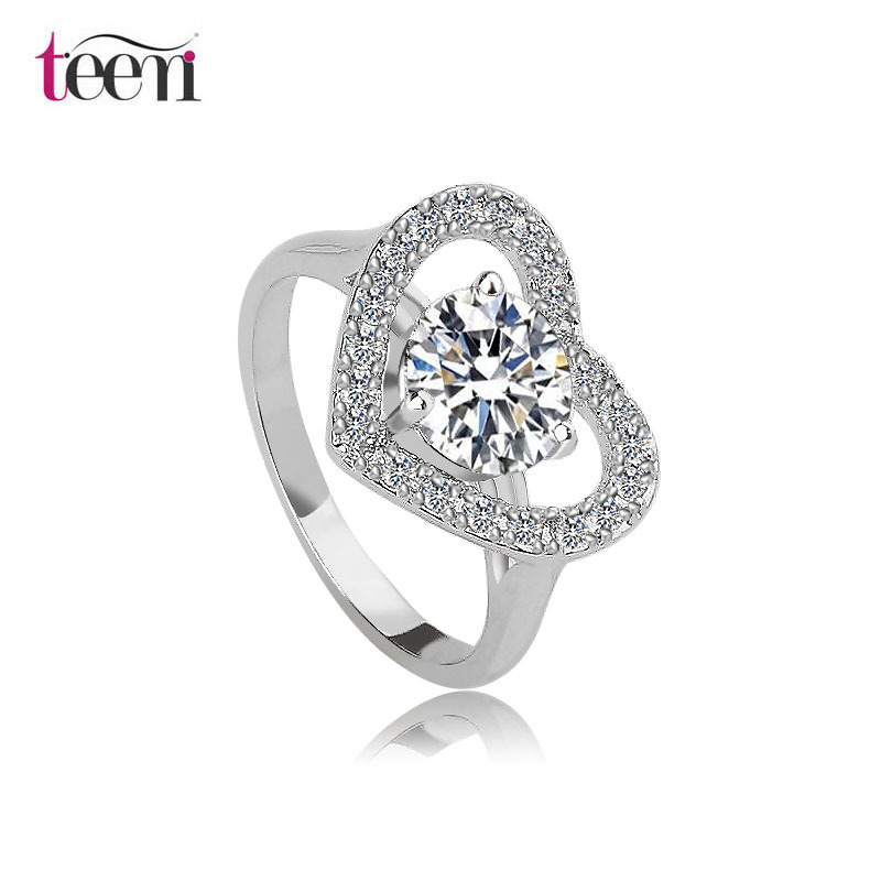 Teemi Favorites Compare 2015 New Arrival Women Wholesale Platinum Jewelry Sweet Love Heart Wedding Bands Noble Finger Rings(China (Mainland))