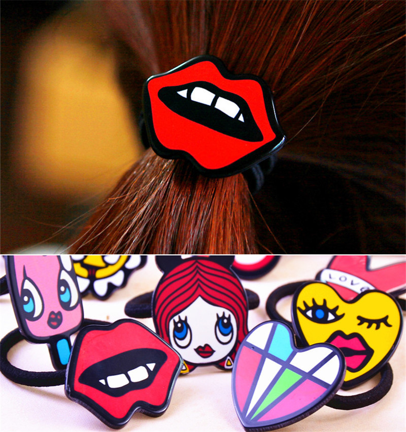 Lovely fashion 40colors cartoon style hairband rubber band tie hair accessories headwear girls head hair band Creative design(China (Mainland))
