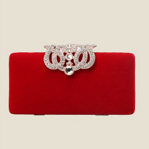 Hot Sale Women Velvet Handbag Flash Diamond Crown Clasp Hard Box Day Clutch Lady Wedding Bride Handbag Party Dinner Evening Bag(China (Mainland))