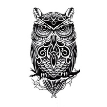 Temporary tattoos large black owl arm fake transfer tattoo stickers hot sexy men women spray waterproof designs(China (Mainland))