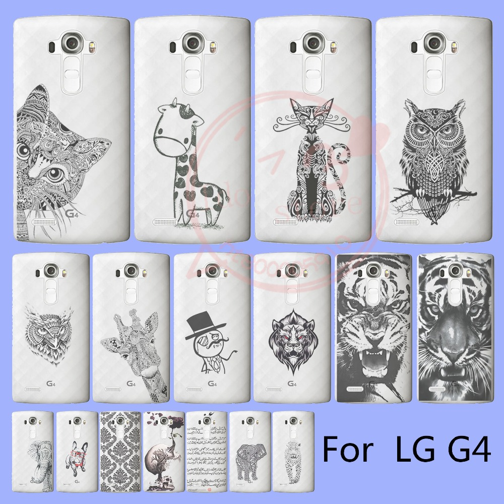 For LG G4 Cat Giraffe Lion Elephant Eagle Dog Skull Rose Panther matte Hard Cases with 17 patterns in back(China (Mainland))