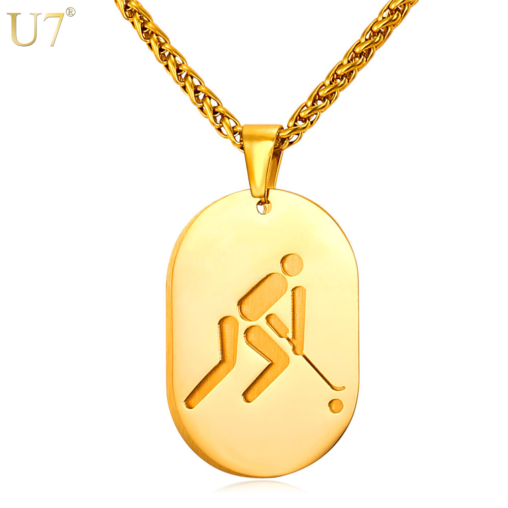 U7 New Dog Tag Necklace For Men Sporty Jewelry Stainless Steel Charm 18K Gold Plated 2016 Olympic Hockey Pendant & Necklace P837(China (Mainland))