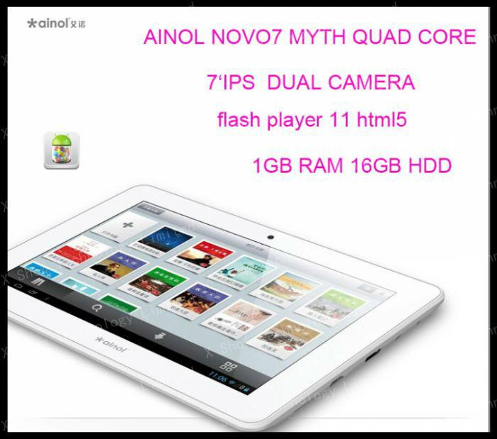 "freeshipping Ainol Novo 7 MYTH ainol venus  Android 4.1.1   7"" Capacitive 1GB RAM 16GB HDD quad CORE +IPS SCREEN+dual camer"