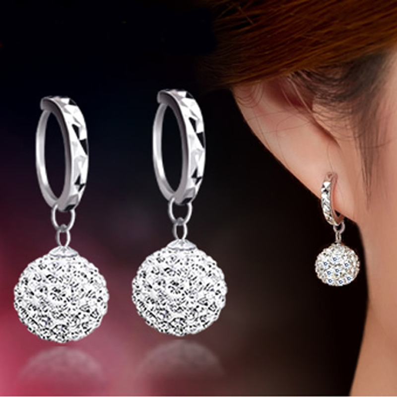 High Quality Luxury Super Flash Full Bling Crystal Shamballa Princess Ball 925 Sterling Silver Women Stud Earrings Party Jewelry(China (Mainland))