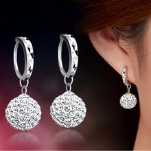 Di alta qualità di lusso super flash pieno di bling di cristallo di shamballa della principessa sfera dell'argento sterlina 925 donne orecchini del partito dei monili(China (Mainland))