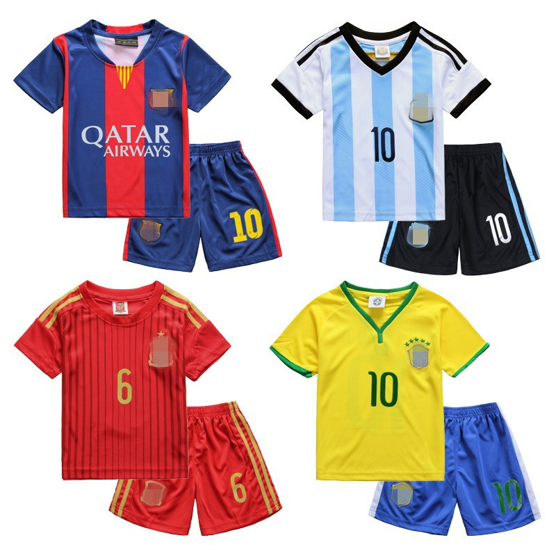 New Design Football Fans Kids Sport T Shirts Breathable Cotton Short Sleeve Unisex Children Girl Boys Soccer Clothes Set 2-12Age(China (Mainland))