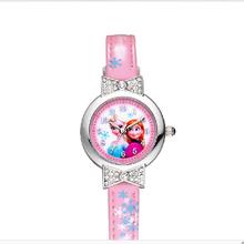 Snow Queen Elsa Anna Olaf 3D Cartoon Watch Girls Quartz Children Student Boys Gifts Leather belt Diamond child Cartoon Watches