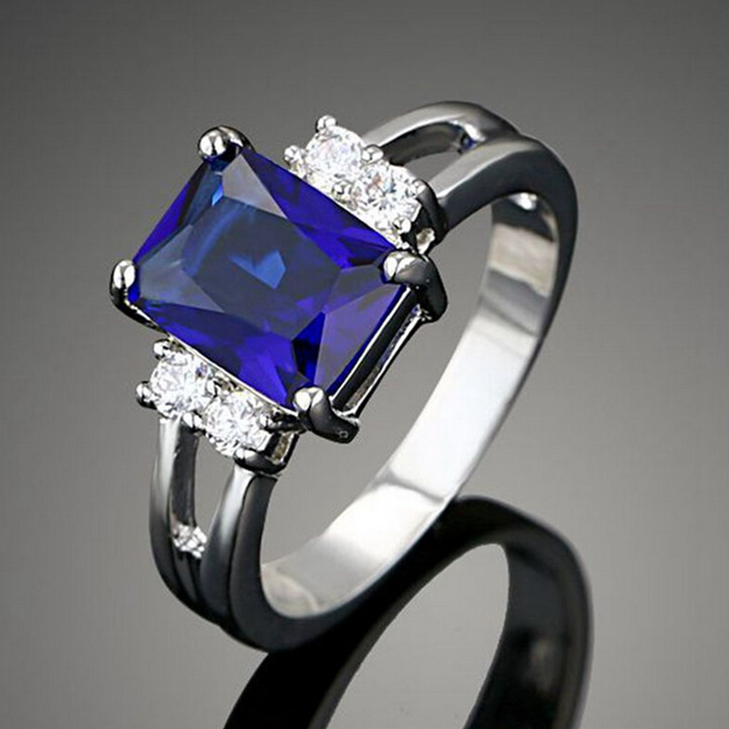 New Europe Fashion Square Shape Crystal Blue Color Rings For Women Jewelry Silver Plated Female Rings Wholesalse bague RW1044(China (Mainland))