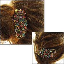1 PCS Hot Fashion New Vintage Womens Ladies Colorful Rhinestone Peacock Hairpin Barrette Hair Clip Hair Accessories Jewelry(China (Mainland))