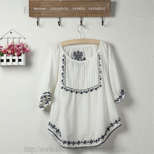 Vintage Mexican ethnic Floral Embroidery  BOHO women's t shirt Women Tops Loose White Cotton t-shirt  L  tshirt(China (Mainland))