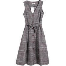 אנגליה סגנון חורף נשים צמר קיצית V צוואר בציר משובץ Sashes ארוך שרוולים חולצה שמלת אלגנטי מורי ילדה צמר שמלה(China)