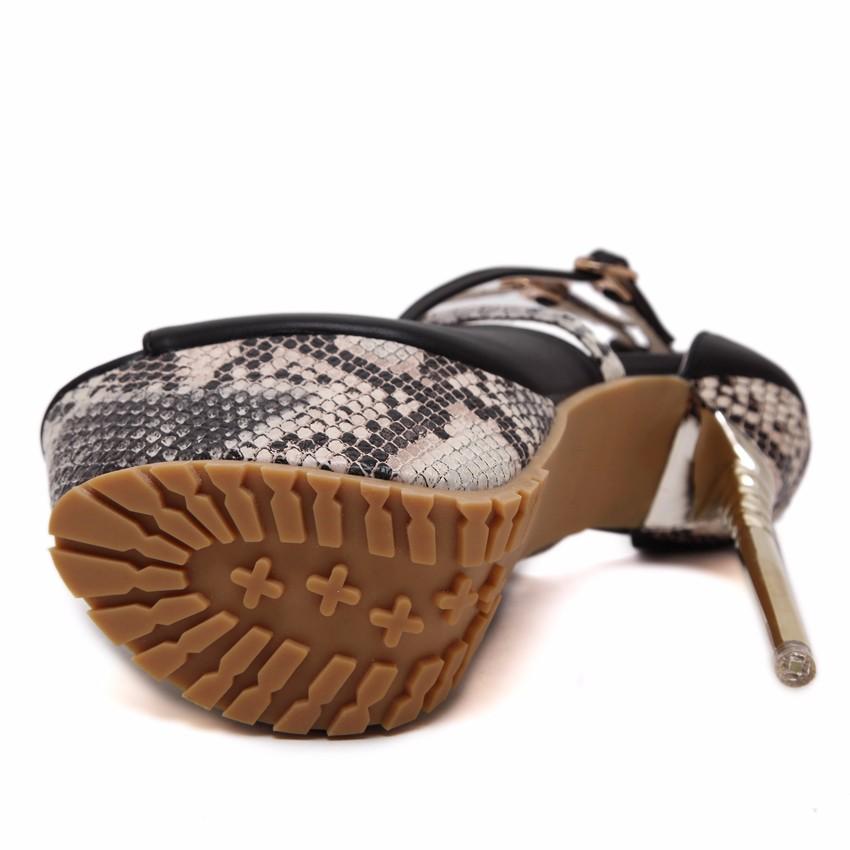 ซื้อ ที่มีคุณภาพสูง2016แฟชั่นรองเท้าผู้หญิงกลับกลอกพิมพ์P Eep Toeข้ามสายกลวงออกส้นบางฤดูร้อนไนท์คลับพรรคปั๊ม