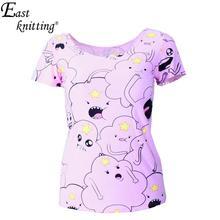 EAST KNITTING X-179 Adventure Time Print Women T-shirt Harajuku Punk Summer T-shirts Casual Clothes Set(China (Mainland))