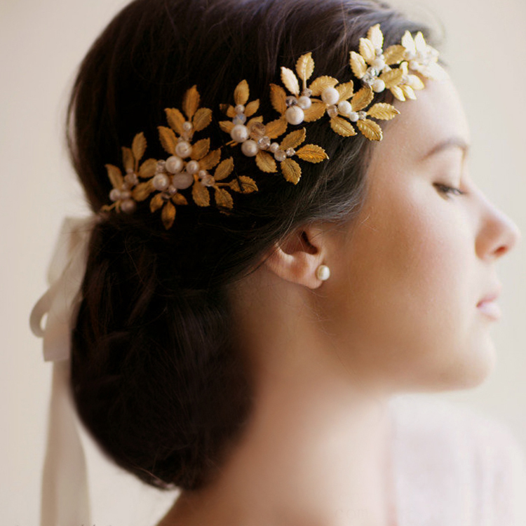 Gold Bouquet Bridal Hairband Headband Flower Garland hair claws wedding head pieces hair accessories wedding jewelry for hair(China (Mainland))