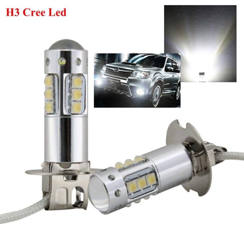 2Pcs/Lot New High Power H3 LED 80W Xenon Super Bright White CREE Chips Led Fog Light Bulb Car Driving DRL Lamp (H1 881 available)