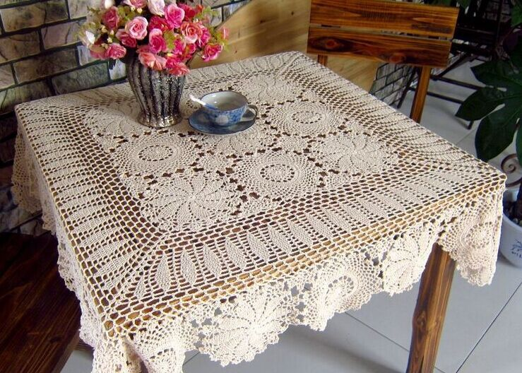 120cm Square Handmade Crochet Tablecloth Multicolor Runners Home Decoration Retro Coffee Table Cover Retro Tea Desk