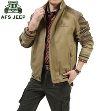 Big size M - 5XL 2015 European men AFS JEEP casual brand 100% cotton army green jacket coat man spring khaki jackets casaco #609(China (Mainland))