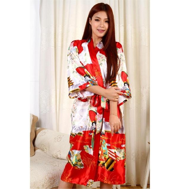Бесплатная доставка красный леди сатинировки халат имитационные шелковый халат платье ...