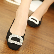 Europe and the United States 2015 spring new Suede Flats square diamond shoes with flat shoes