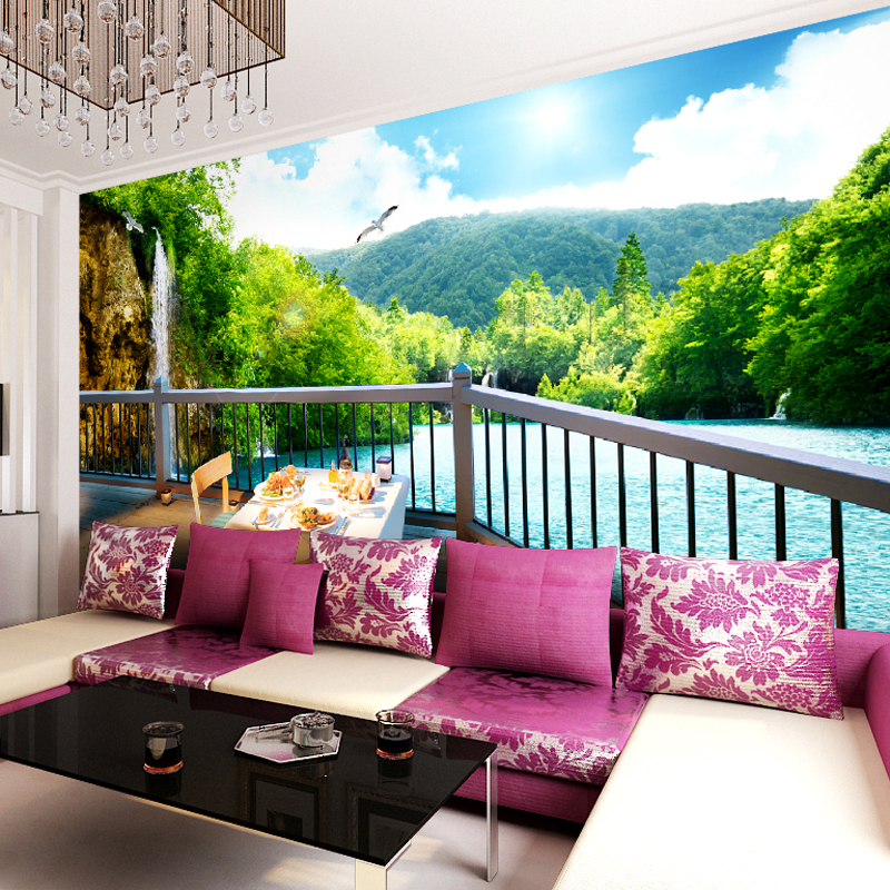 Custom made green lake photo 3d wallpaper 3d wall murals for 3d wallpaper in living room