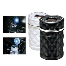 New Car Accessories Portable LED Car Ashtray High Quality Universal Cigarette Cylinder Holder Car Home Office Use Mini cinzeiro(China (Mainland))