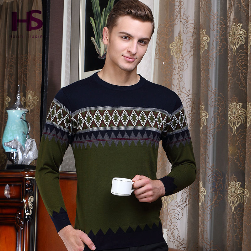 2016 New England Style Knitted Wool Sweater For Men With Fashion Argyle Long Sleeve O Neck Pullover Men Brand Sweaters Wholesale(China (Mainland))