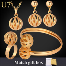 U7 Unique Design Ball Pendant Set Wholesale Gold/Silver Color Trendy Party Bridal Jewelry Sets For Women S579(China (Mainland))
