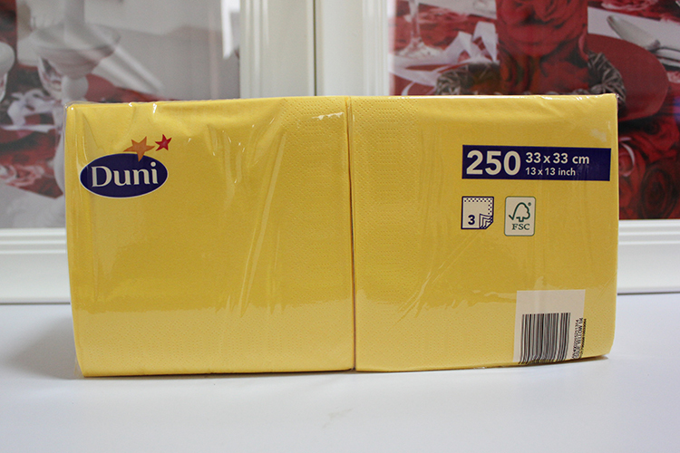 Duni napkin paper printed table napkin yellow paper napkin - Serviette table tissu ...