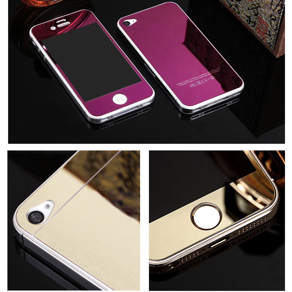 2pcs/lot Front+Back Tempered Glass For Apple For iPhone 4S 4 Full Cover Screen Protector Mirror Effect Color Protective Film(China (Mainland))