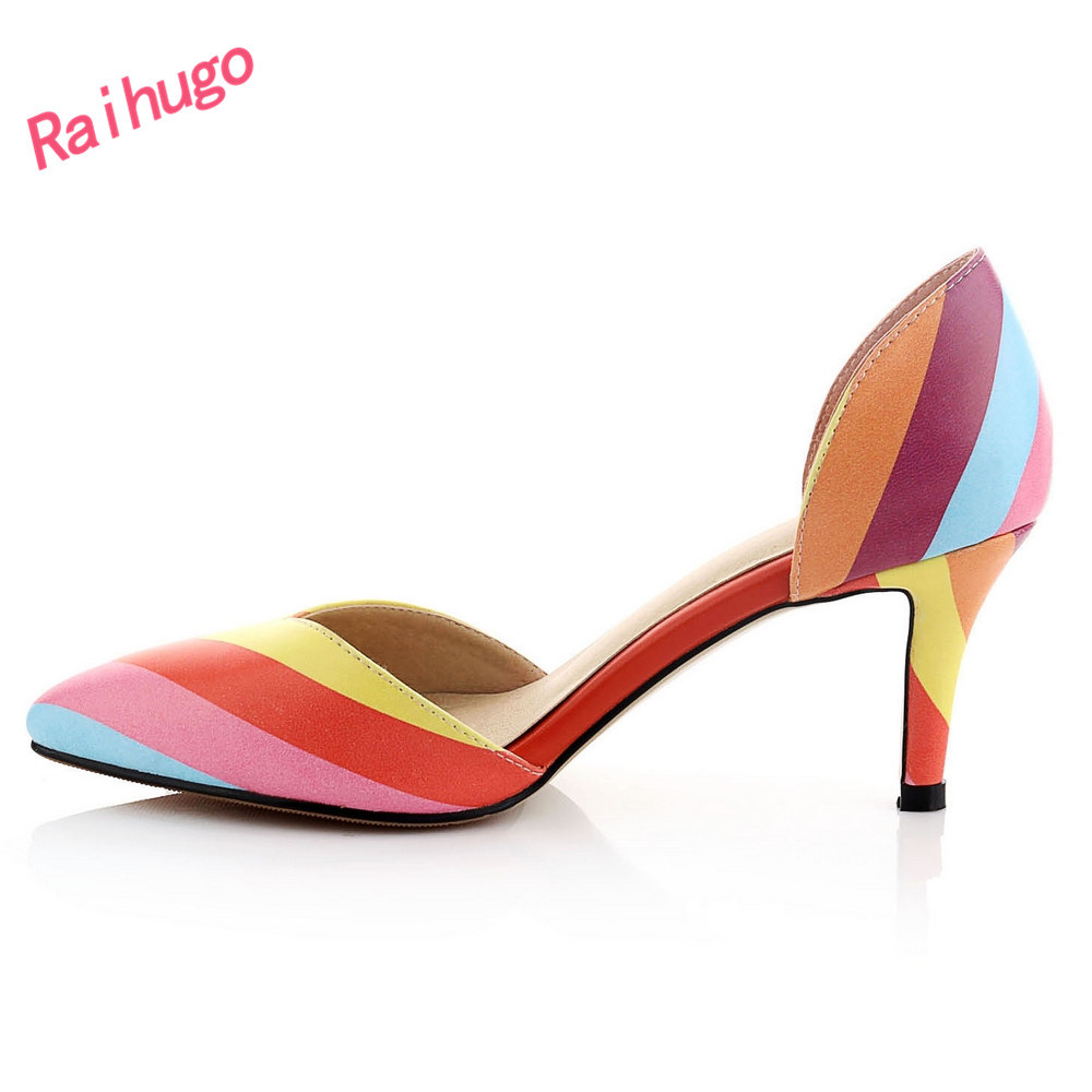 Hot mix color pointed toe 7cm high heel pumps two-piece different colorful microfiber upper 2015 summer new party heels - Raihugo store