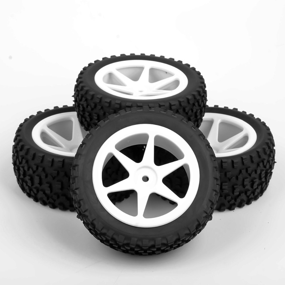 4pcs/set 12mm Hex Buggy Tires Front &amp; Rear Rubber Tyre Wheel Rim 25034+27011 Fit RC 1:10 Off-Road Buggy Car Toys Accessories<br><br>Aliexpress