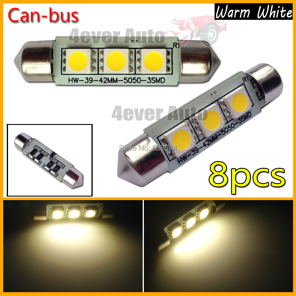 8pcs/lot Warm White 3-SMD Error Free Canbus 42mm Festoon LED Bulbs For Interior Dome Reading Lights License or Trunk Area Lights(China (Mainland))