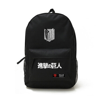 2015 Hot Anime Attack on Titan Sports Canvas Bag Student School Backpack Black Blue cosplay Free Shipping(China (Mainland))