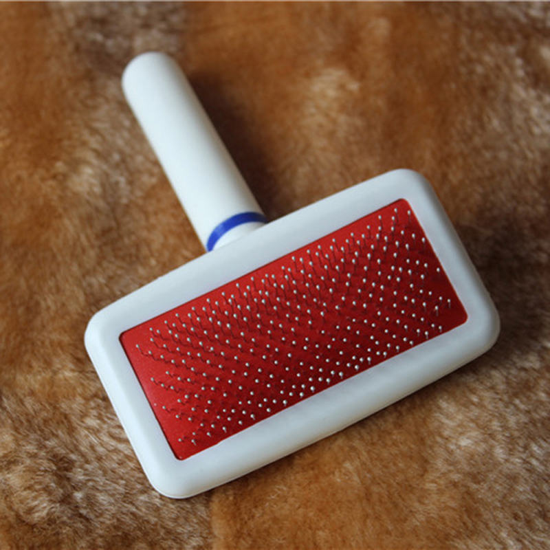 Red Puppy Cat Hair Grooming Slicker Comb Gilling Brush Quick Clean Tool Pet Dog Grooming Stainless Steel Grooming(China (Mainland))
