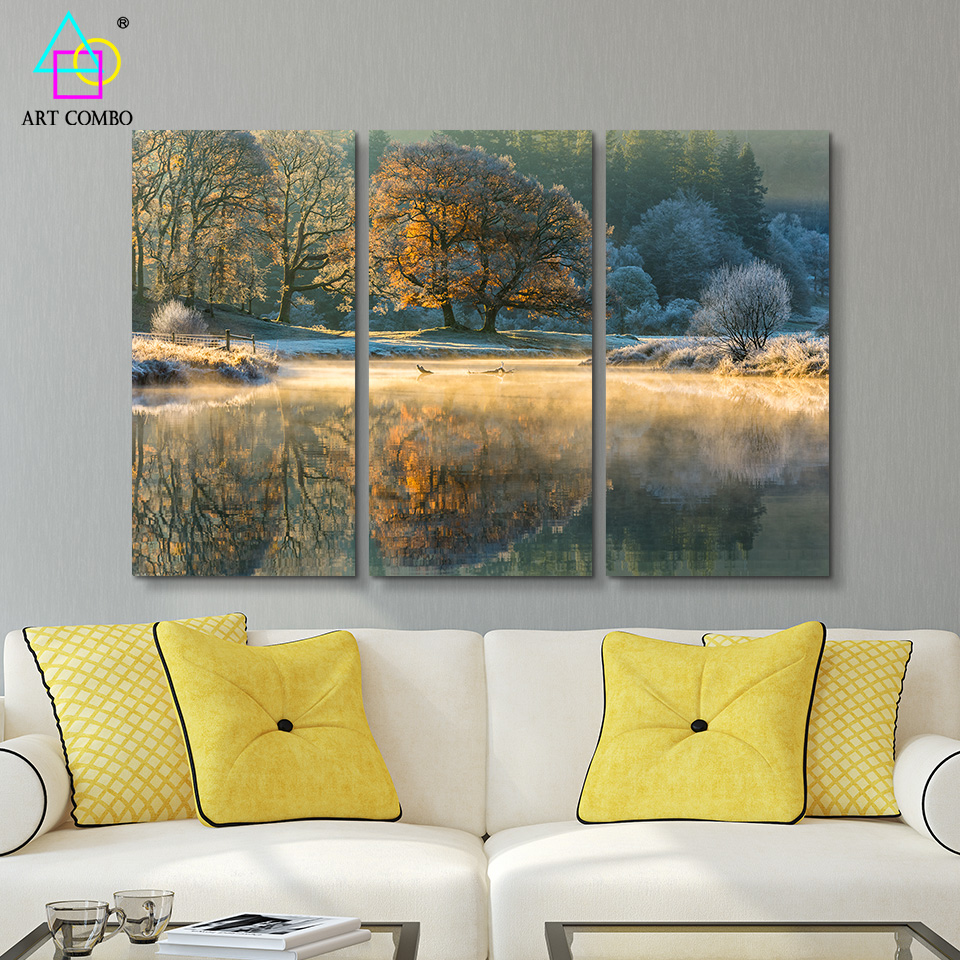 3 Pieces Unframed Landscape Lake Reflects The Tree Canvas Painting Wall Art Picture Home&Room Decor Posters ART COMBO BG034(China (Mainland))