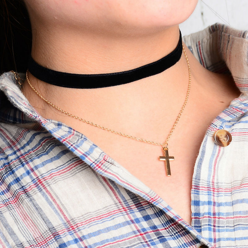 Women Layered Chokers Steampunk Black Leather Long Rope Gold Pendants Choker Necklace for women Collar collier Bijoux wholesale(China (Mainland))