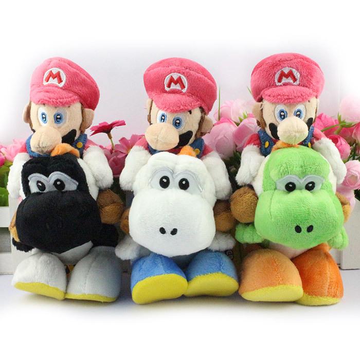 EMS 50PCS/Lot Super Mario Bros Plush 18cm 6 colors Mario Riding Yoshi Plush Doll Luigi Riding Yoshi Plush Toy<br><br>Aliexpress