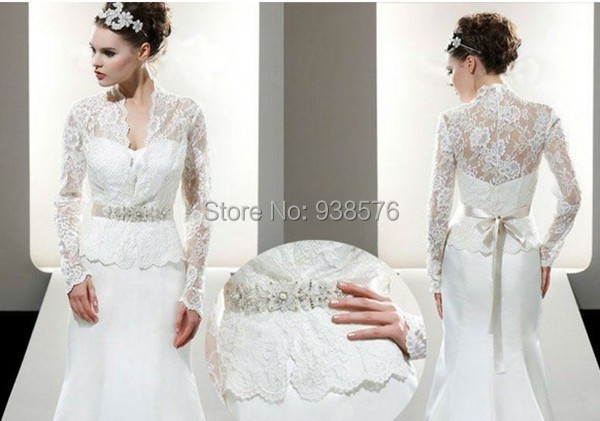 2015 new arrival long sleeve bridal wraps lace bolero for Wedding dress long sleeve lace jacket