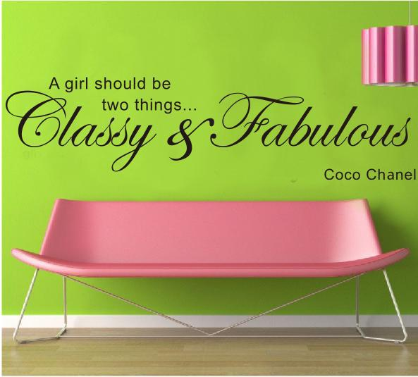 Girls Room Wall Decor a Girl Should Be Two Things Classy and Fabulous Quote Wall Stickers Waterproof Removable Home Decal